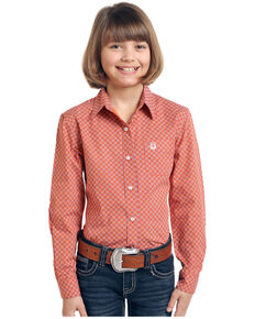 Rough Stock by Panhandle Girls' Red Pinedale Vintage Button Long Sleeve Shirt , Red, hi-res