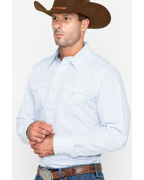 Roper Men's Original Rugged Geo Print Long Sleeve Western Shirt , Blue, hi-res