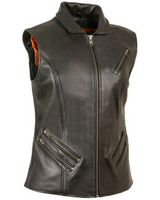 Milwaukee Leather Women's Extra Long Zipper Front Vest - 3X, Black, hi-res