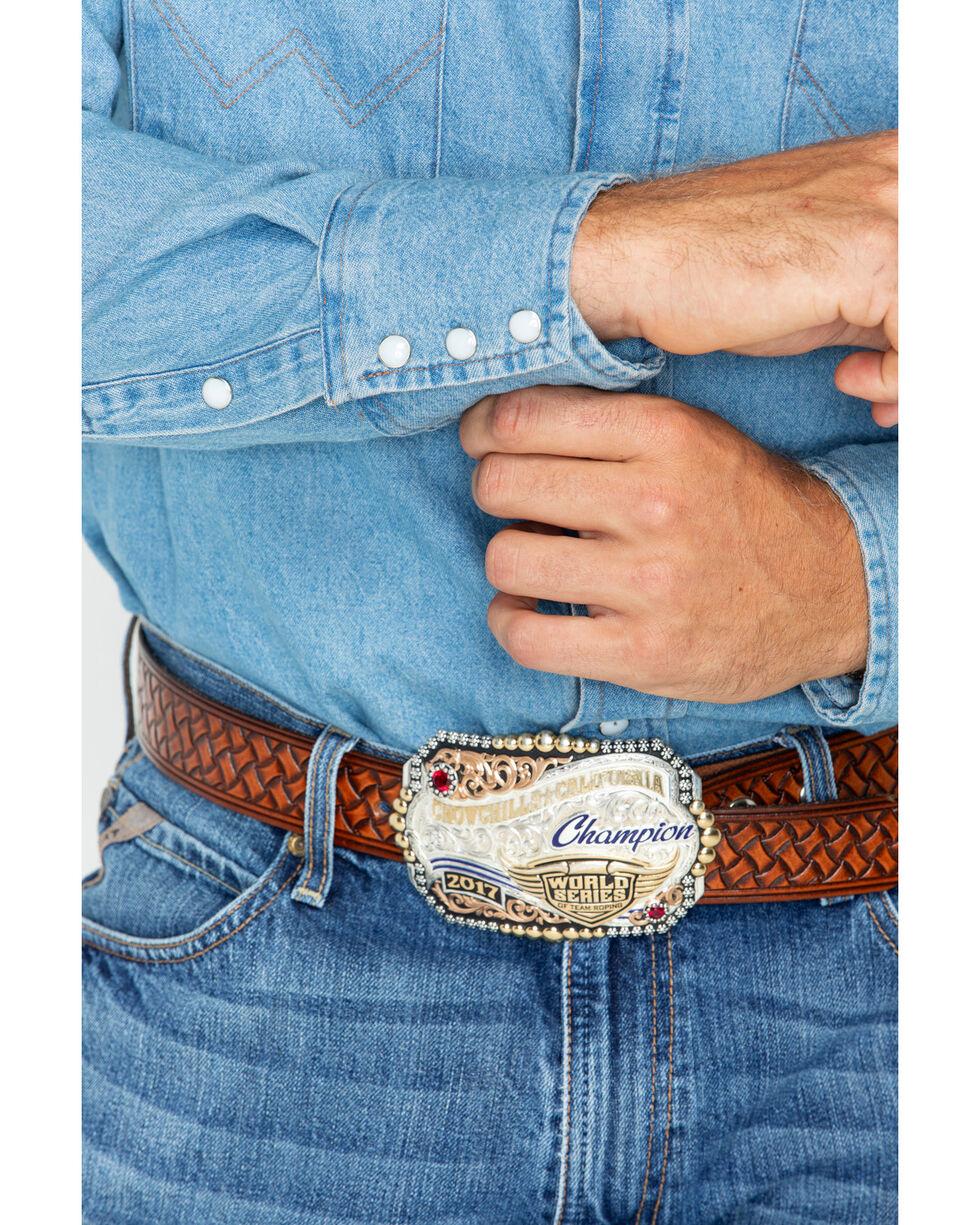 Wrangler Men's Long Sleeve Twill Work Shirt, Stonewash, hi-res