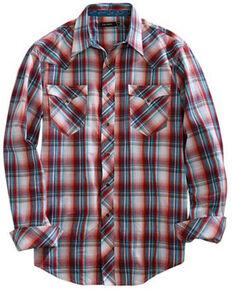 Tin Haul Men's Paintbrush Plaid Long Sleeve Western Shirt , Red, hi-res