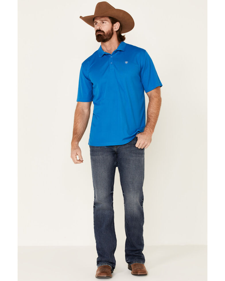 Ariat Men's Blue Tek Short Sleeve Polo Shirt - Big , Blue, hi-res