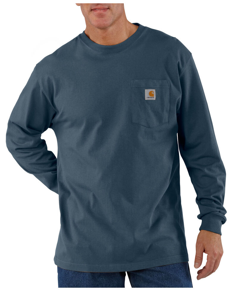 Carhartt Men's Pocket Long Sleeve Work Shirt - Tall, Blue Stone, hi-res