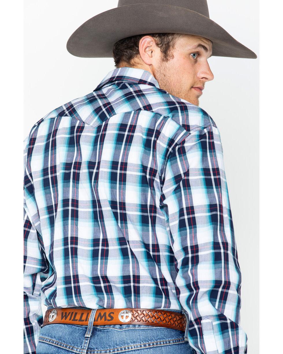 Cinch Men's Modern Fit Multi Plaid Long Sleeve Western Snap Shirt, Wine, hi-res