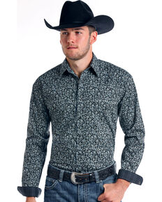Rough Stock by Panhandle Men's Vintage Print Long Sleeve Western Shirt, Charcoal, hi-res
