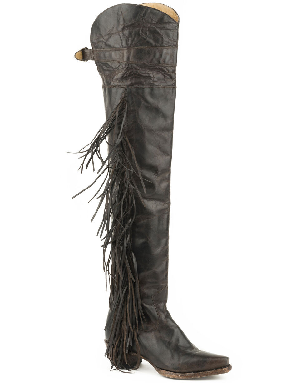 Stetson Women's Black Glam Over The Knee Boots - Snip Toe , Brown, hi-res