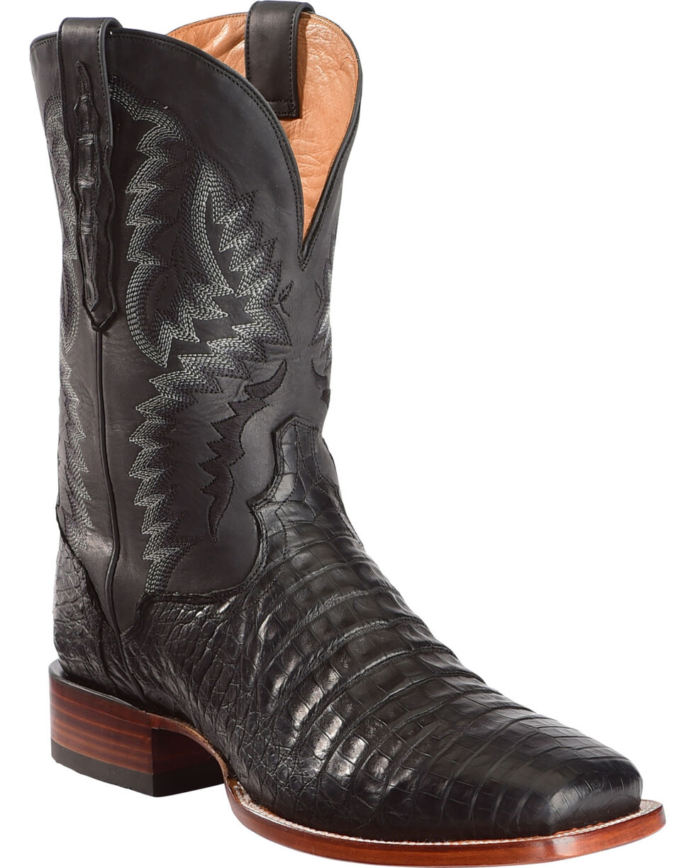 El Dorado Men's Handmade Caiman Belly Stockman Boots - Square Toe, Black, hi-res
