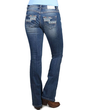 Shyanne® Women's Aztec Embroidered Boot Cut Jeans  , Blue, hi-res