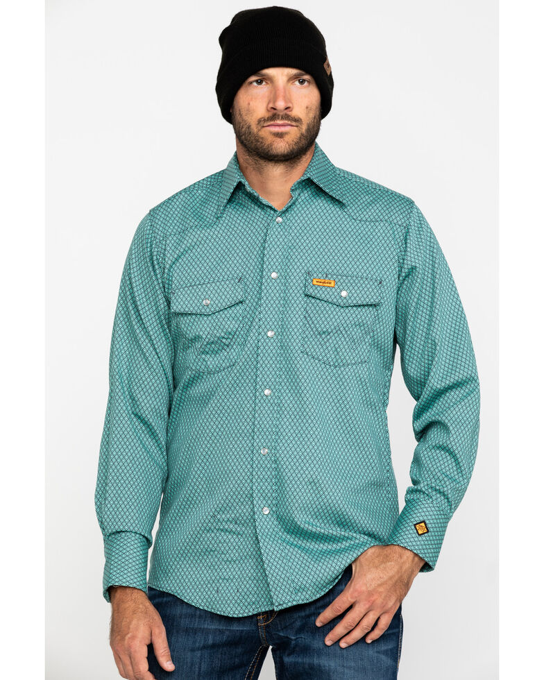 Wrangler Riggs Men's FR Green Geo Print Long Sleeve Work Shirt , Green, hi-res