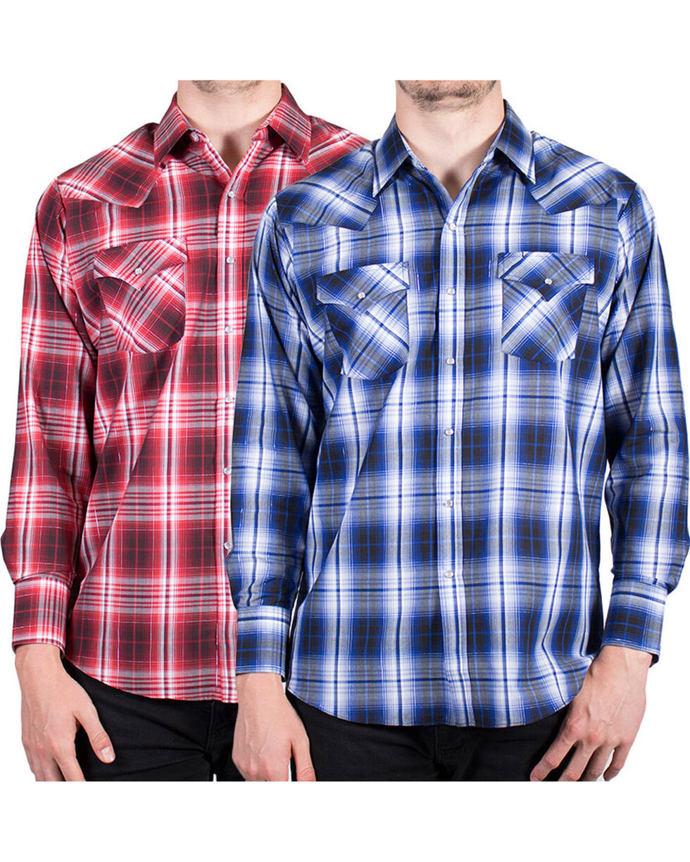 Ely Cattleman Men's Lurex Plaid Long Sleeve Western Shirt - Assorted, , hi-res