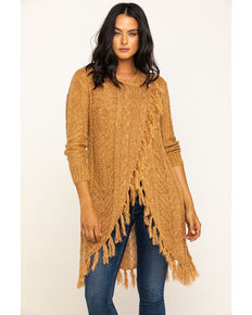 Idyllwind Women's Sunset Wrap Fringe Sweater, Gold, hi-res