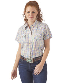 Wrangler Women's Lime Multi Plaid Short Sleeve Western Shirt, Multi, hi-res