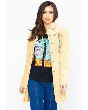 Scully Women's Boar Suede Fringe Coat, Tan, hi-res