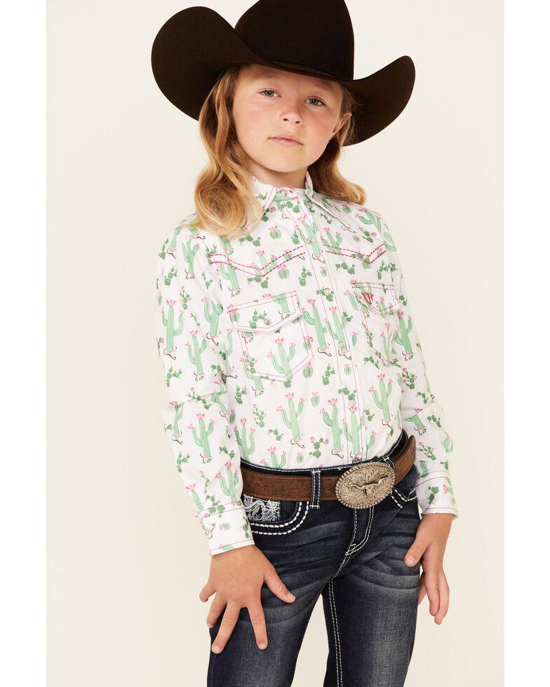Cowgirl Hardware Girls' White Cactus Print Long Sleeve Snap Western Shirt , White, hi-res