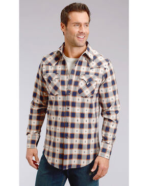 Stetson Men's Modern Fit Dobby Plaid Long Sleeve Snap Shirt, Blue, hi-res
