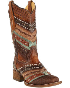 Corral Women's Turquoise and Brown Embroidered Cowgirl Boots - Square Toe , Brown, hi-res