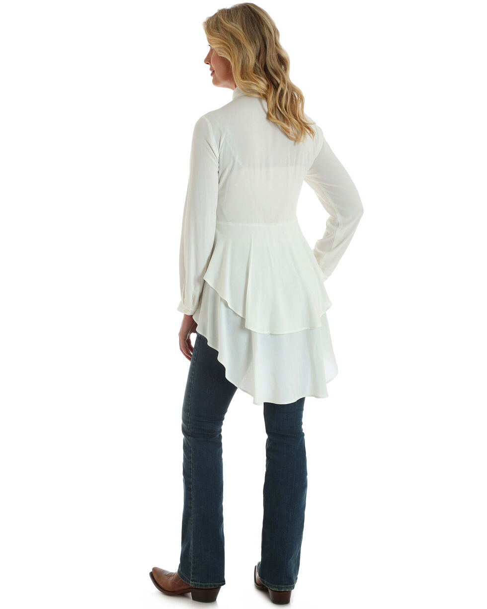 Wrangler Women's Ivory Tiered Ruffle Hem Long Sleeve Top, White, hi-res