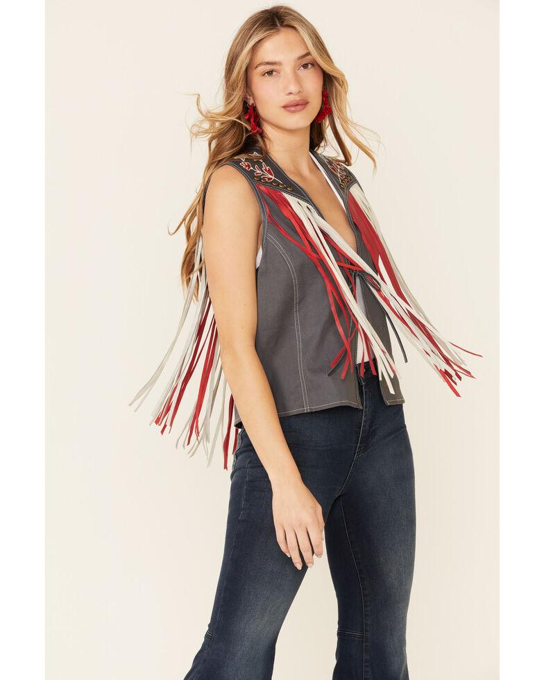 Double D Ranch Women's Indigo Eagle Live Tie-Front Vest , Indigo, hi-res