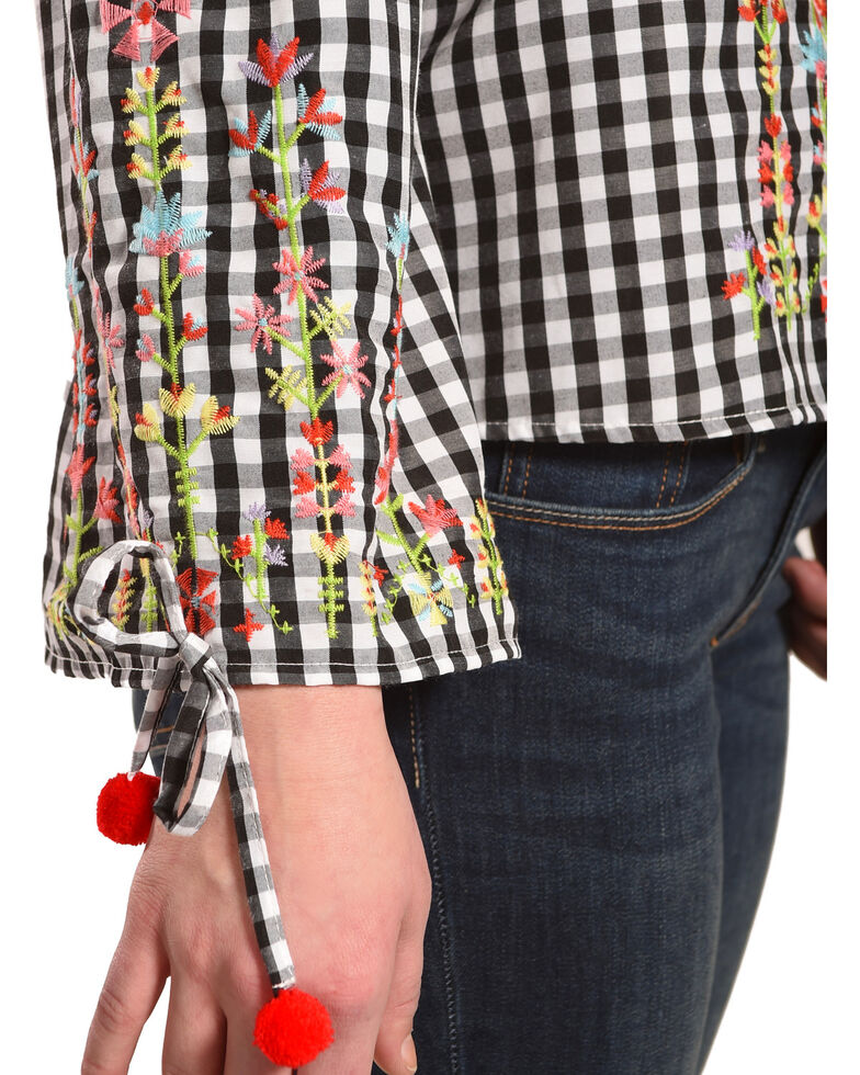 Derek Heart Women's Embroidered Gingham Off The Shoulder Top , Black, hi-res