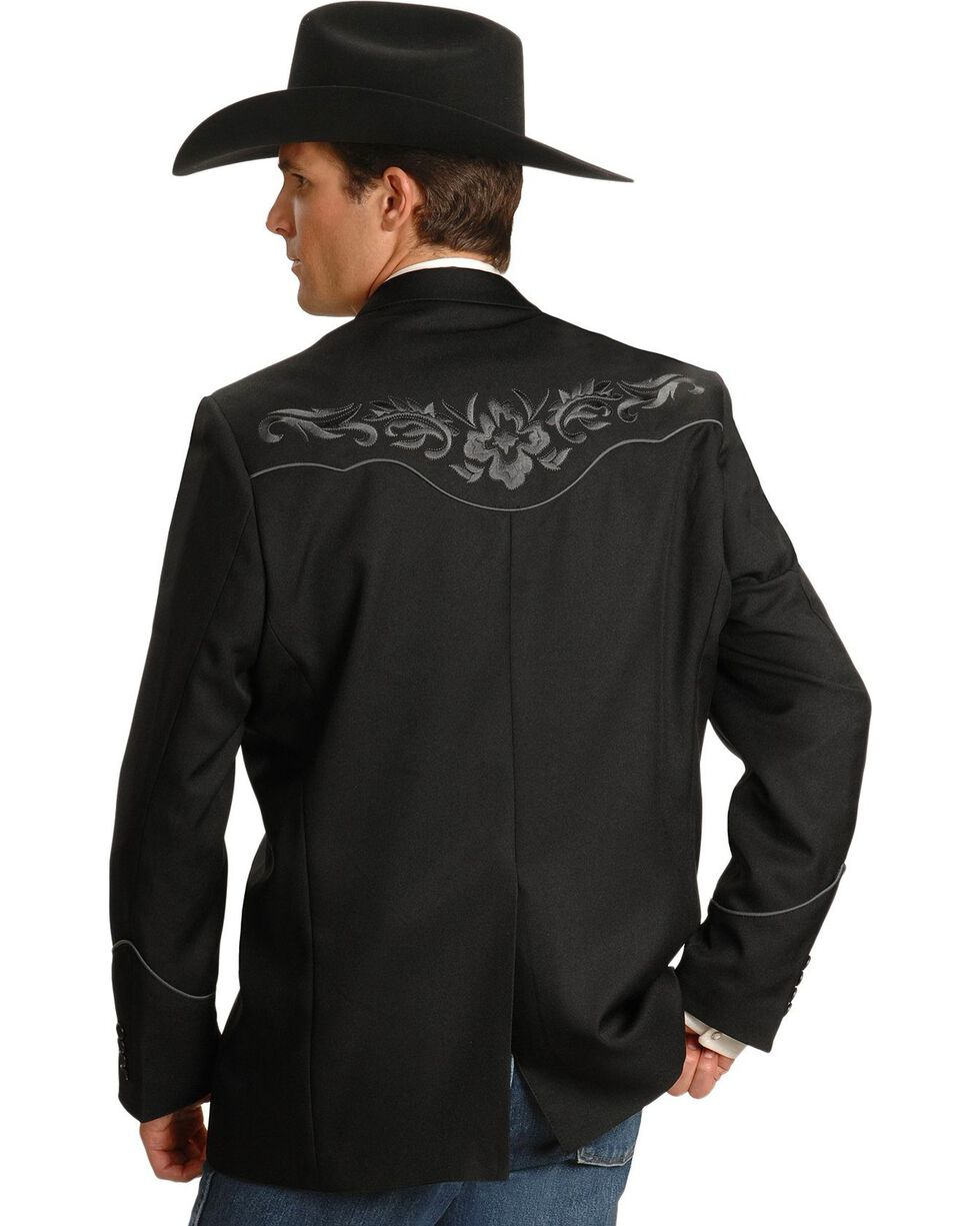 Scully Grey Floral Embroidery Black Western Jacket, Charcoal Grey, hi-res