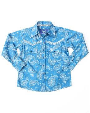 Cowboy Hardware Boys' Large Paisley Print Long Sleeve Western Shirt , Blue, hi-res