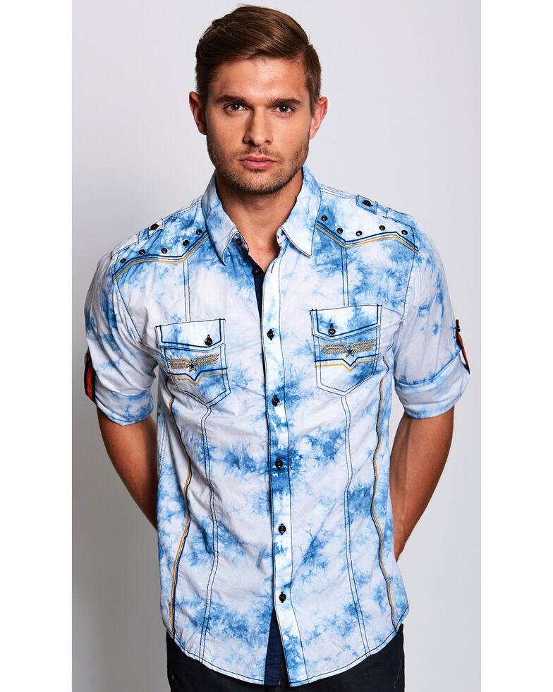 Austin Season Men's Long Sleeve Embroidered Button Long Sleeve Western Shirt, Light Blue, hi-res