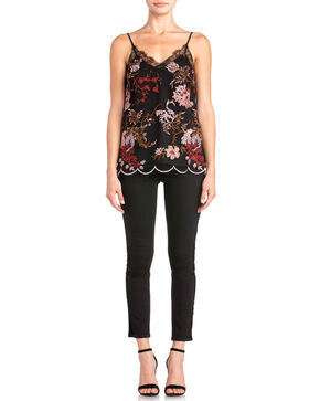 Miss Me Women's Floral Embroidered Scalloped Hem Tank, Black, hi-res