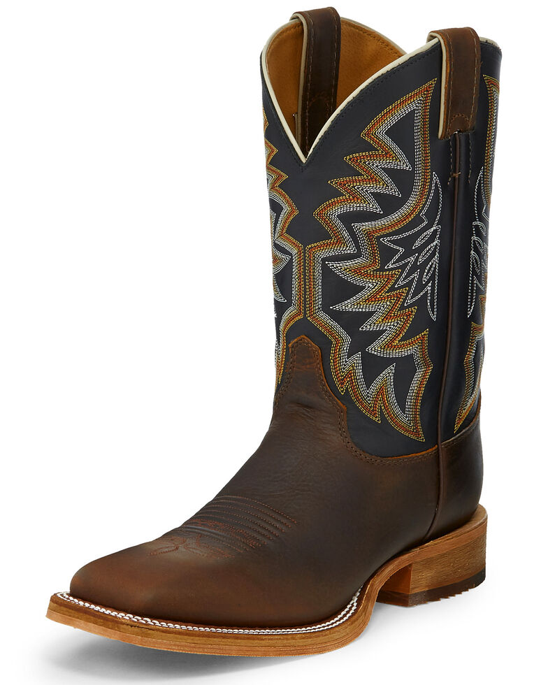 Justin Men's Caddo Roughrider Western Boots - Square Toe, Brown, hi-res