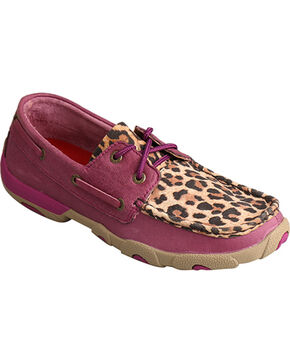 Twisted X Women's Purple/Leopard Driving Moccasins, Purple, hi-res