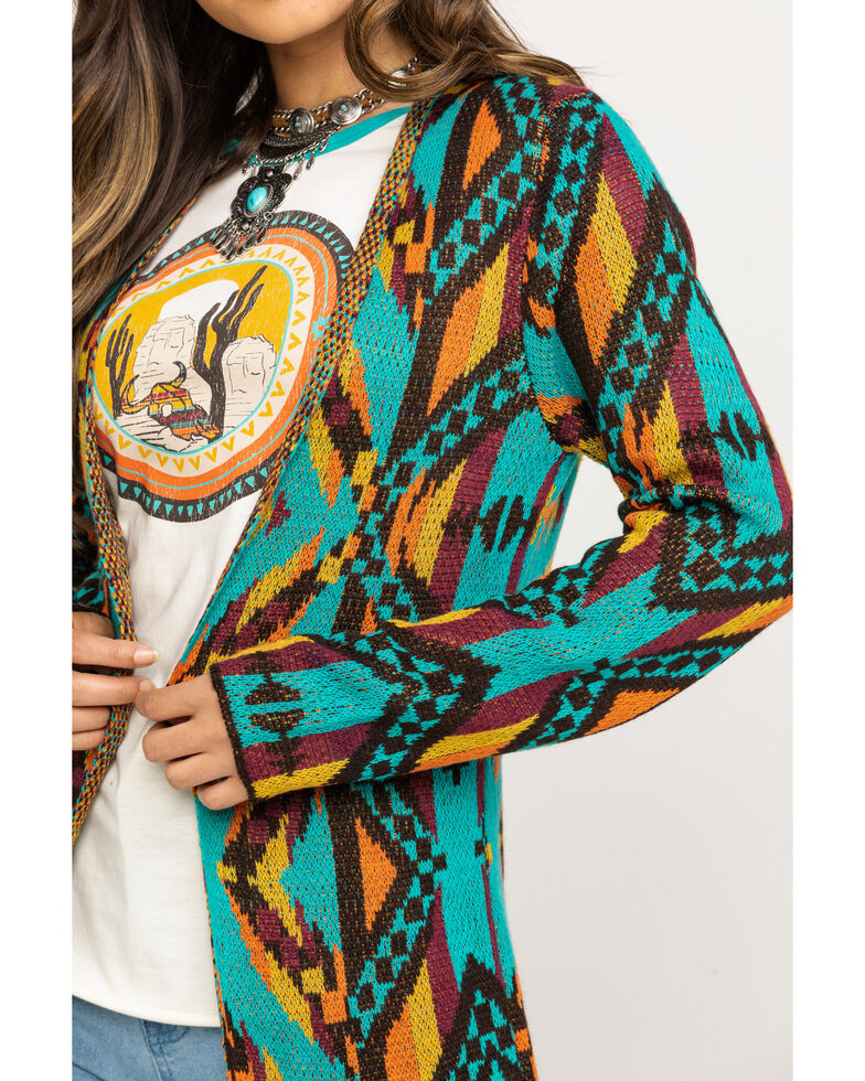 Rock & Roll Cowgirl Women's Long Aztec Cardigan, Multi, hi-res