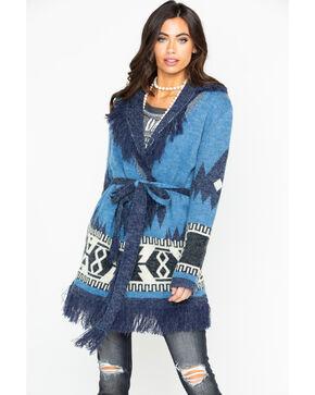 Miss Me Women's Aztec Fringe Trim Tie-Waist Cardigan , Blue, hi-res
