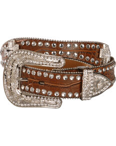 3517c85f3794 Blazin Roxx Scalloped Rhinestone Cross Croc Print Belt