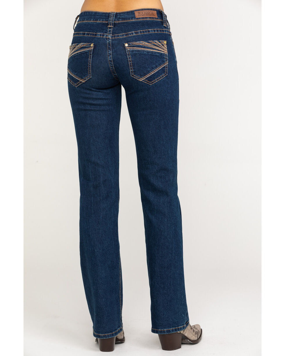 Rock & Roll Cowgirl Women's Extra Stretch Dark Riding Boot Jeans , Blue, hi-res