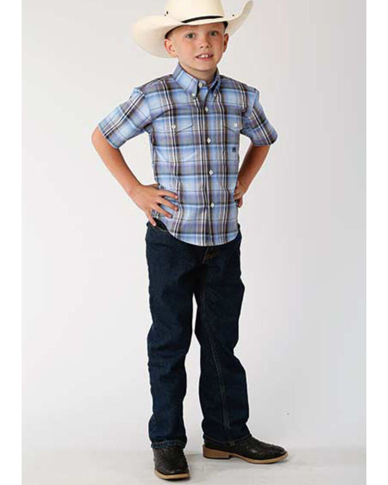 Roper Boys' Amarillo Cool Breeze Plaid Short Sleeve Western Shirt , Multi, hi-res