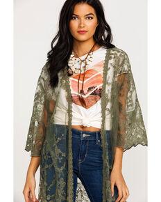 Ariat Women's Deep Lichen Clover Embroidered Kimono  , Sage, hi-res