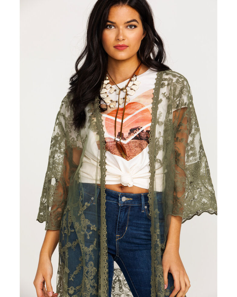 Ariat Women's Deep Lichen Clover Embroidered Kimono  , Sage, hi-res