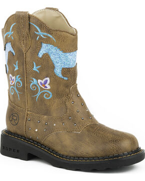 Roper Kid's Horse Flowers Dazzel Lights Western Boots, Tan, hi-res