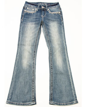 Grace in LA Girls' Crosshatch Pocket Bootcut Jeans, Blue, hi-res