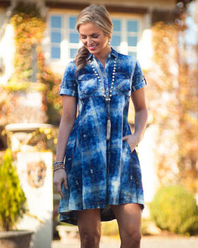 Ryan Michael Women's Blue Dobby Plaid Swing Dress , Indigo, hi-res