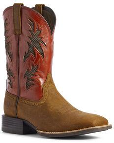 Ariat Men's Cool VentTEK Western Boots - Wide Square Toe, Brown, hi-res