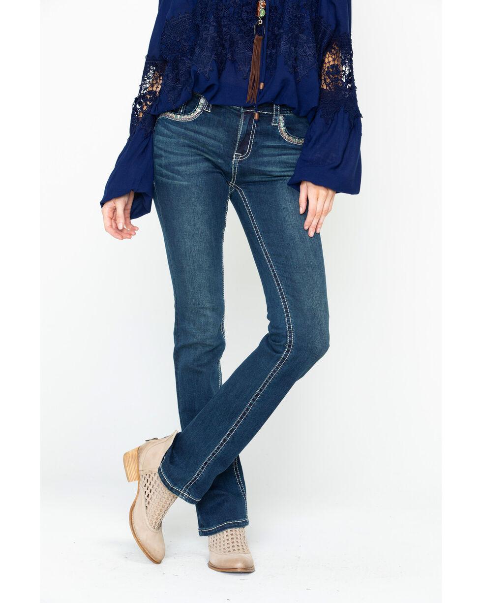 Grace In LA Women's Pink Cross Pocket Boot Jeans , Indigo, hi-res