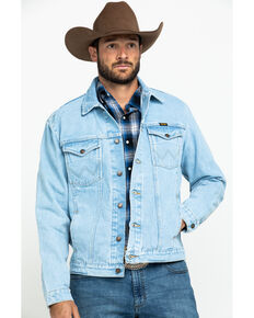 Wrangler Men's Unlined Gold Buckle Bleached Denim Jacket , Indigo, hi-res