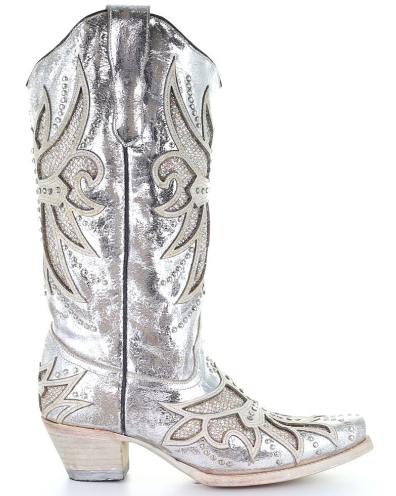 Corral Women's Silver Laser & Inlay Western Boots - Snip Toe, Silver, hi-res