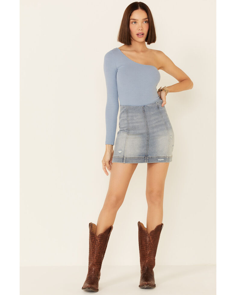 Jolt Women's Blue Zipper Denim Mini Skirt, Blue, hi-res