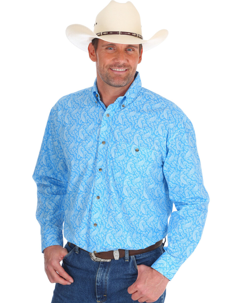 Wrangler Men's Blue George Strait Printed Shirt , Blue, hi-res