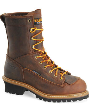 "Carolina Men's Logger 8"" Steel Toe Work Boots, Brown, hi-res"