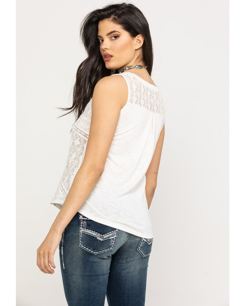 3eb1599f64bec3 Zoomed Image Miss Me Women's Lace Allover Tank Top, White, hi-res
