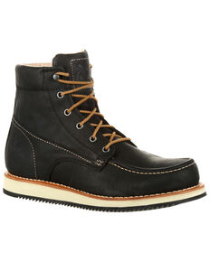 Georgia Boot Men's Small Batch Wedge Boots - Moc Toe, Black, hi-res