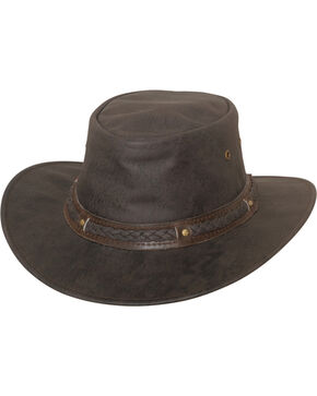 Bullhide Hobart Crushable Leather Hat , Dark Brown, hi-res