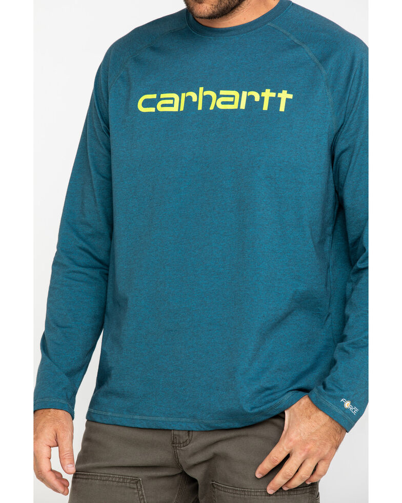 Carhartt Men's Force Cotton Delmont Graphic Long Sleeve Work Shirt, Dark Grey, hi-res